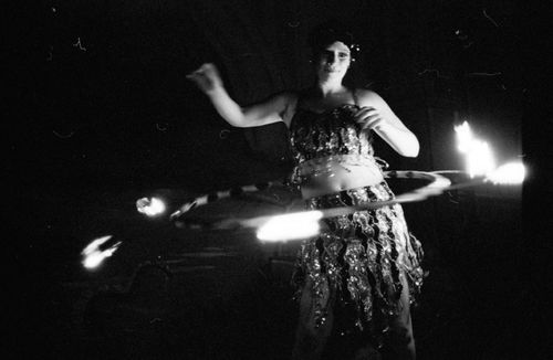 Miss Joule with fire hula hoop